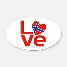 Norwegian Red LOVE Oval Car Magnet