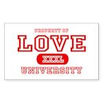 Love University Property Rectangle Sticker