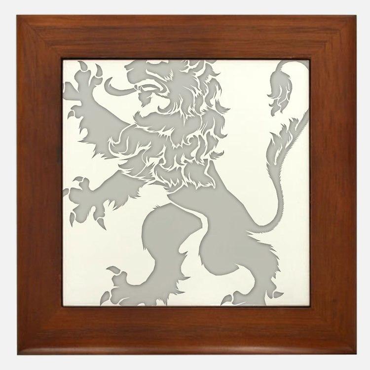 Grey Lion Rampant Framed Tile