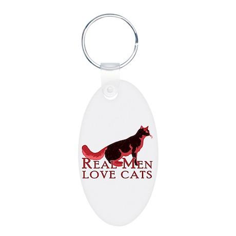 Real Men Love Cats 2 Aluminum Oval Keychain