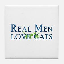 Real Men Love Cats 5 Tile Coaster