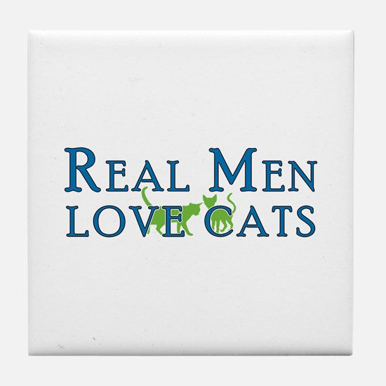 Real Men Love Cats 5 Tile Coaster
