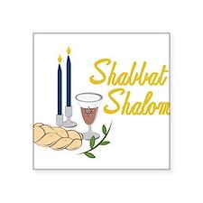 """Shabbat Shalom Square Sticker 3"""" x 3"""""""