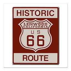 Lenwood Route 66 Square Car Magnet 3