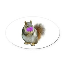 Squirrel Candy Heart Oval Car Magnet