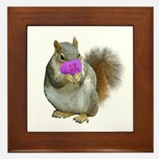 Squirrel Candy Heart Framed Tile