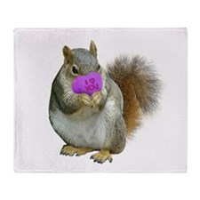 Squirrel Candy Heart Throw Blanket