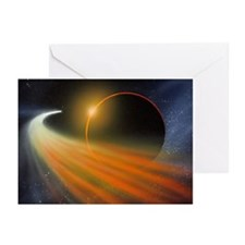 Comet passing a planet, artwork - Greeting Cards (