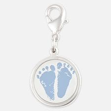 Blue Feet Silver Round Charm