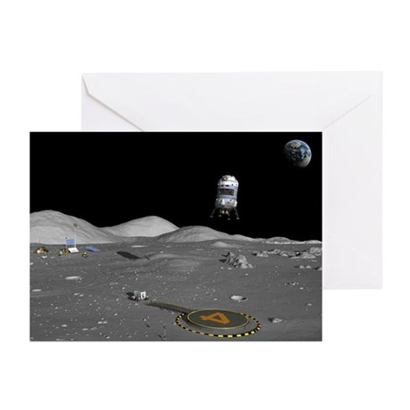 Lunar shuttle landing, artwork - Greeting Cards (P