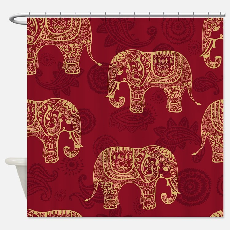Indian elephant shower curtains indian elephant fabric for Elephant fabric