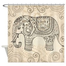 Vintage Elephant Shower Curtain