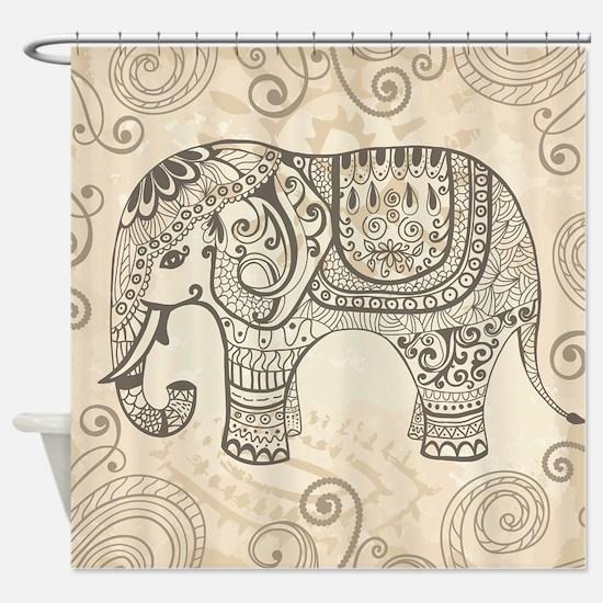 Vintage Elephant Shower Curtain