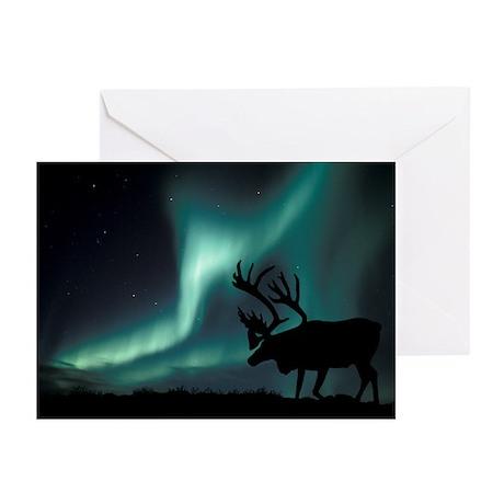 Aurora borealis and caribou - Greeting Cards (Pk o