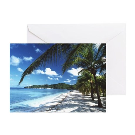 Beach with palm trees - Greeting Cards (Pk of 10)