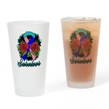 Thyroid Cancer Survivor Rose Tattoo Drinking Glass