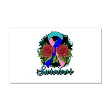 Thyroid Cancer Survivor Rose Tattoo Car Magnet 20