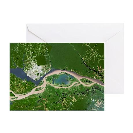 Manaus, satellite image - Greeting Cards (Pk of 10