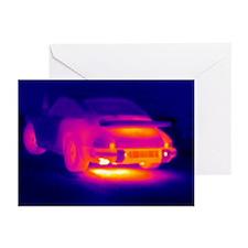 Porsche car, thermogram - Greeting Cards (Pk of 10