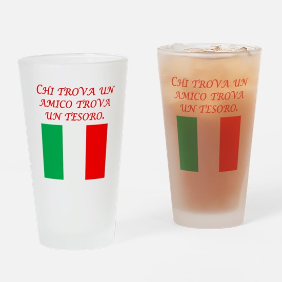 Italian Proverb Friend Treasure Drinking Glass