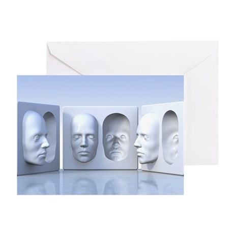 Hollow-face illusion,artwork - Greeting Cards (Pk