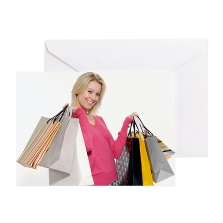 Woman with shopping bags - Greeting Cards (Pk of 1