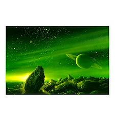 Alien ringed planet, artwork - Postcards (Pk of 8)