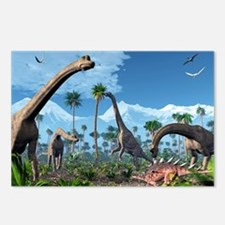 Brachiosaurus dinosaurs, artwork - Postcards (Pk o