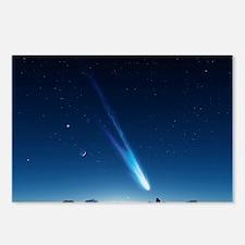 Comet in the night sky, artwork - Postcards (Pk of