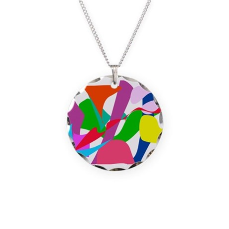 Colorful Abstract Wind Necklace Circle Charm