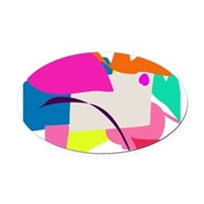 Colorful Abstract Bird Oval Car Magnet