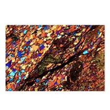 Mica schist, thin section, polarised LM - Postcard