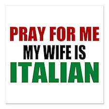 "Pray Wife Italian Square Car Magnet 3"" x 3"""