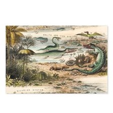 1849 The antidiluvian world crop Jurassic - Postca