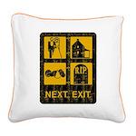 Next Exit Death Square Canvas Pillow