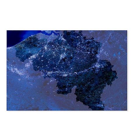 Belgium by night, satellite image - Postcards (Pk