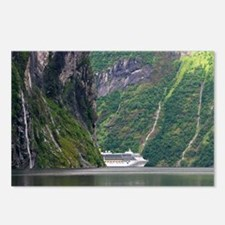 Cruise ship in a fjord, Norway - Postcards (Pk of
