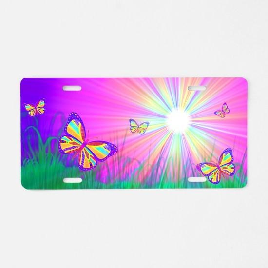 Sun Butterflies Aluminum License Plate