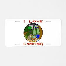 I LOVE camping bears Aluminum License Plate