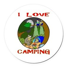 I LOVE camping bears Round Car Magnet