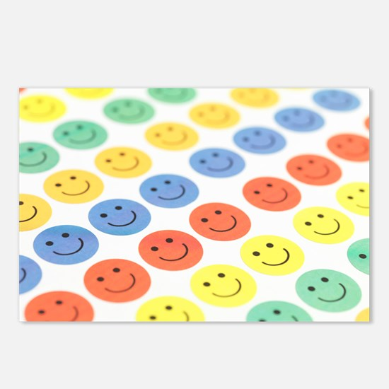 Smiley face stickers - Postcards (Pk of 8)