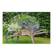 Wooden wheelbarrow planter - Postcards (Pk of 8)