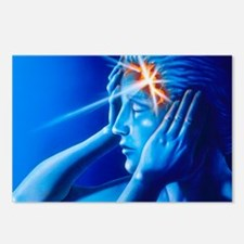 Artwork of woman with head split showing headache