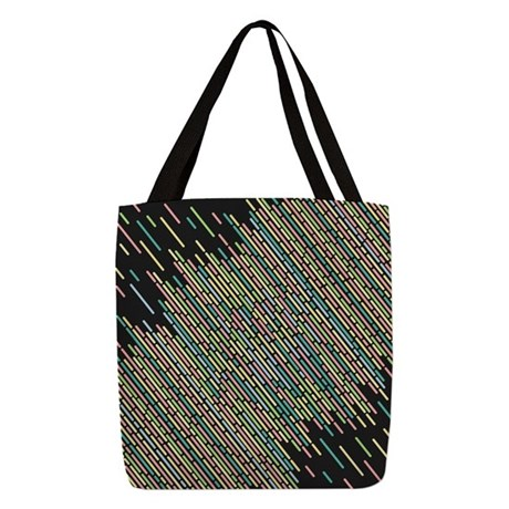 Colorful stripes lines vintage Polyester Tote Bag