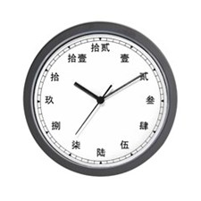 Chinese Number (Kanji) Wall Clock