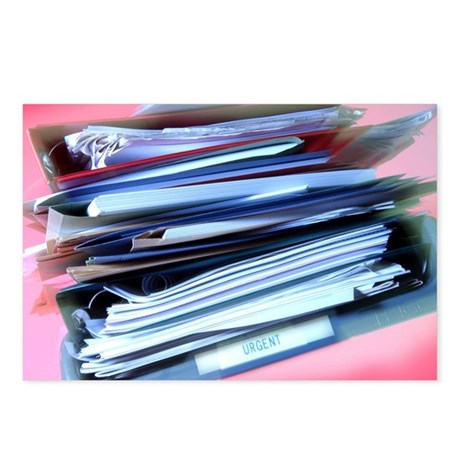 Overflowing in-tray - Postcards (Pk of 8)