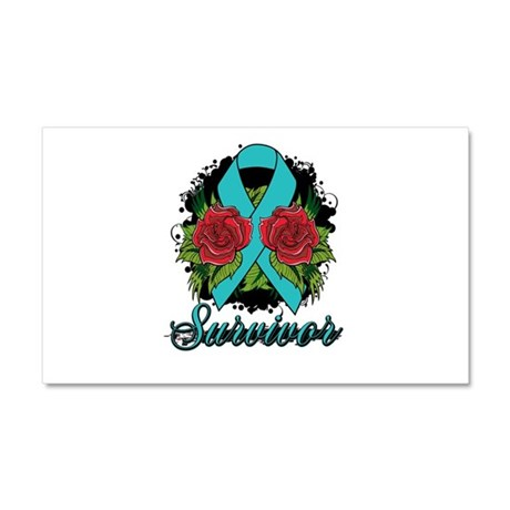 Ovarian Cancer Survivor Tattoo Car Magnet 20 x 12