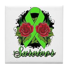 Lymphoma Survivor Rose Tattoo Tile Coaster