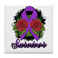 Lupus Survivor Rose Tattoo Tile Coaster