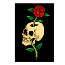 Skull With Rose Vintage Tattoo Art Postcards (Pack